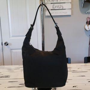 Coach Black Leather Trimmed Till Shoulder Bag